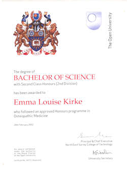 Bachelor of Science certificate