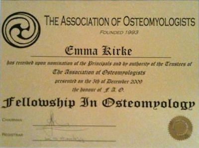 Fellowship in Osteomyology certificate