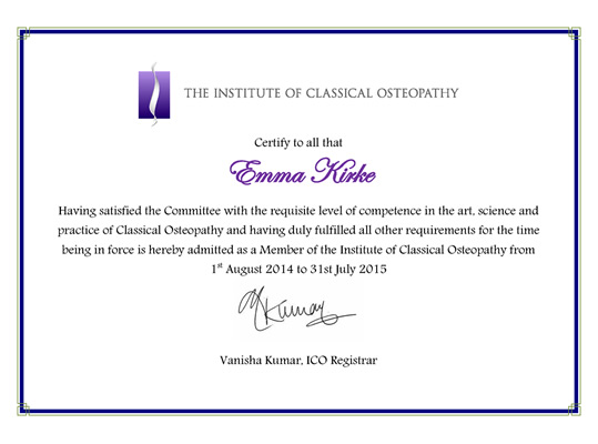 Classical Osteopathy certificate